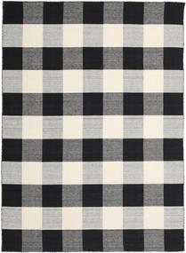 Check Kilim - 黒/白 絨毯 240X340 モダン 手織り 黒/薄い灰色/濃いグレー (ウール, インド)