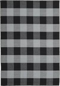 Check Kilim 絨毯 240X340 モダン 手織り 黒/水色 (ウール, インド)