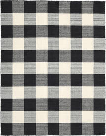 Check Kilim - 黒/白 絨毯 190X240 モダン 手織り 黒/濃いグレー/薄い灰色 (ウール, インド)