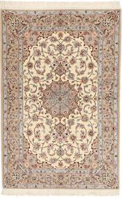 イスファハン 絹の縦糸 Davudi 絨毯 130X202 オリエンタル 手織り ベージュ/薄い灰色 (ウール/絹, ペルシャ/イラン)