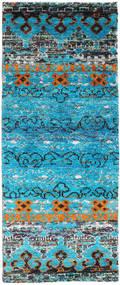 Quito - ターコイズ 絨毯 80X200 モダン 手織り 廊下 カーペット ターコイズブルー/薄い灰色 (絹, インド)