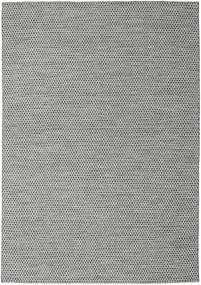 キリム Honey Comb - 黒/グレー 絨毯 240X340 モダン 手織り 薄い灰色/ターコイズブルー (ウール, インド)