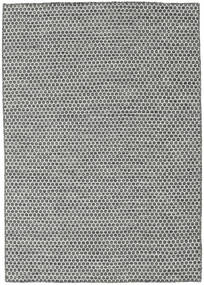 キリム Honey Comb - 黒/グレー 絨毯 140X200 モダン 手織り 薄い灰色/濃いグレー (ウール, インド)