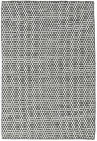 キリム Honey Comb - 黒/グレー 絨毯 120X180 モダン 手織り 薄い灰色/濃いグレー (ウール, インド)