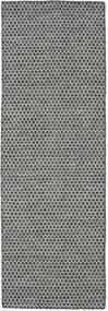 キリム Honey Comb - 黒/グレー 絨毯 80X240 モダン 手織り 廊下 カーペット 薄い灰色/濃いグレー (ウール, インド)