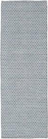 キリム Honey Comb - 青 絨毯 80X240 モダン 手織り 廊下 カーペット 水色/薄い灰色 (ウール, インド)