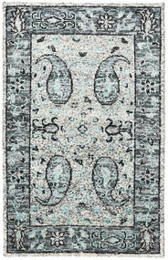 Vega Sari シルク - グレー 絨毯 120X180 モダン 手織り 薄い灰色/ホワイト/クリーム色 (絹, インド)