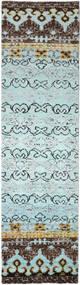 Quito - L. 青 絨毯 80X300 モダン 手織り 廊下 カーペット 水色/濃いグレー (絹, インド)