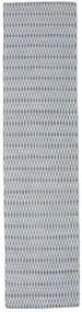 キリム Long Stitch - 青 絨毯 80X340 モダン 手織り 廊下 カーペット 薄い灰色/水色 (ウール, インド)