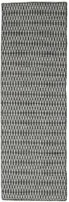 キリム Long Stitch - 黒/グレー 絨毯 80X240 モダン 手織り 廊下 カーペット 濃いグレー/薄い灰色 (ウール, インド)
