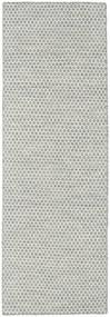 キリム Honey Comb - グレー 絨毯 80X240 モダン 手織り 廊下 カーペット 薄い灰色/ベージュ (ウール, インド)