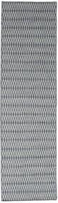 キリム Long Stitch - 青 絨毯 80X290 モダン 手織り 廊下 カーペット 薄い灰色/濃いグレー (ウール, インド)