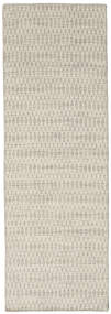 キリム Long Stitch - ベージュ 絨毯 80X240 モダン 手織り 廊下 カーペット 暗めのベージュ色の/薄い灰色 (ウール, インド)
