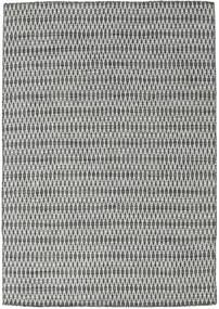 キリム Long Stitch - 黒/グレー 絨毯 160X230 モダン 手織り 薄い灰色/濃いグレー (ウール, インド)