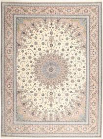 イスファハン 絹の縦糸 絨毯 315X420 オリエンタル 手織り 薄い灰色/ベージュ 大きな (ウール/絹, ペルシャ/イラン)