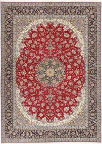 イスファハン 絹の縦糸 絨毯 300X417 オリエンタル 手織り 薄い灰色/深紅色の 大きな (ウール/絹, ペルシャ/イラン)