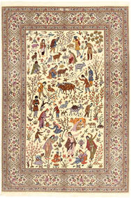 Ilam Sherkat Farsh シルク 絨毯 150X220 オリエンタル 手織り ベージュ/茶/薄茶色 (ウール/絹, ペルシャ/イラン)