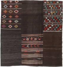 キリム パッチワーク 絨毯 196X209 モダン 手織り 正方形 濃い茶色 (ウール, トルコ)