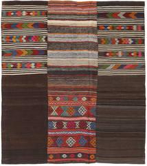 キリム パッチワーク 絨毯 214X242 モダン 手織り 濃い茶色/深紅色の (ウール, トルコ)