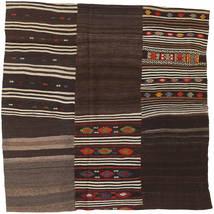 キリム パッチワーク 絨毯 199X199 モダン 手織り 正方形 濃い茶色 (ウール, トルコ)