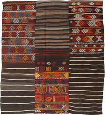 キリム パッチワーク 絨毯 195X222 モダン 手織り 濃い茶色 (ウール, トルコ)