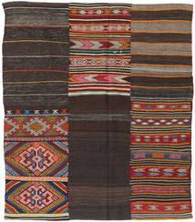 キリム パッチワーク 絨毯 198X234 モダン 手織り 濃い茶色 (ウール, トルコ)
