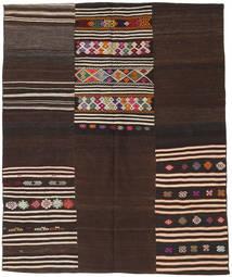 キリム パッチワーク 絨毯 188X229 モダン 手織り 濃い茶色 (ウール, トルコ)