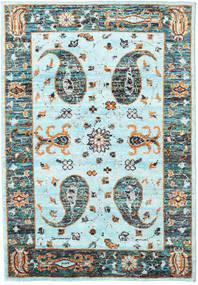 Vega Sari シルク - L.blue 絨毯 160X230 モダン 手織り ターコイズブルー/濃いグレー (絹, インド)