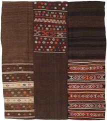 キリム パッチワーク 絨毯 217X250 モダン 手織り 濃い茶色/深紅色の (ウール, トルコ)