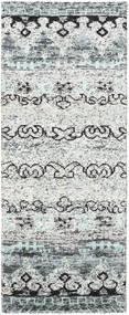 Quito - グレー 絨毯 80X200 モダン 手織り 廊下 カーペット 薄い灰色/ホワイト/クリーム色 (絹, インド)