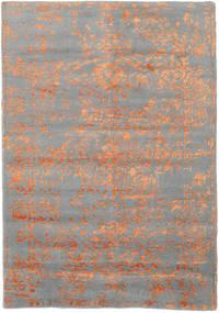 Orient Express - グレー/オレンジ 絨毯 140X200 モダン 手織り 濃いグレー/薄い灰色 (ウール/バンブーシルク, インド)