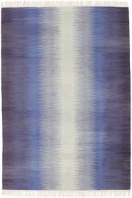 Ikat - ダーク 青 絨毯 140X200 モダン 手織り 紫/薄い灰色/薄紫色 (ウール, インド)