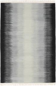 Ikat - 黒/グレー 絨毯 140X200 モダン 手織り 薄い灰色/黒 (ウール, インド)