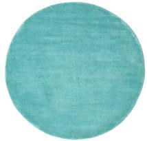 ハンドルーム - Aqua 絨毯 Ø 150 モダン ラウンド ターコイズ/ターコイズブルー (ウール, インド)