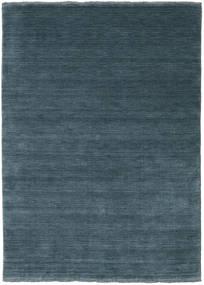 ハンドルーム Fringes - ディープペトロール 絨毯 140X200 モダン 青/紺色の (ウール, インド)