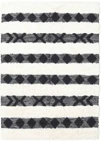 Shaula - 黒/白 絨毯 140X200 モダン 手織り 濃いグレー/ベージュ/ホワイト/クリーム色 (ウール, インド)