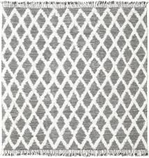 Inez - 濃い茶色/白 絨毯 250X250 モダン 手織り 正方形 薄い灰色/ベージュ 大きな (ウール, インド)