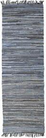 Sonja Mix - Denim/Jute 絨毯 80X250 モダン 手織り 廊下 カーペット 濃いグレー/水色 ( インド)
