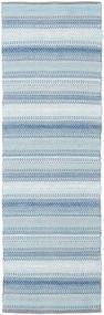 Wilma - 青 絨毯 80X350 モダン 手織り 廊下 カーペット 水色/ベージュ (綿, インド)