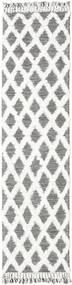 Inez - 濃い茶色/白 絨毯 80X300 モダン 手織り 廊下 カーペット 薄い灰色/ホワイト/クリーム色 (ウール, インド)