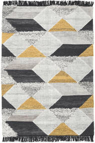 Isha - ゴールド 絨毯 140X200 モダン 手織り 薄い灰色/濃いグレー (ウール, インド)