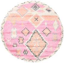 Odda - ピンク 絨毯 Ø 200 モダン 手織り ラウンド ライトピンク/ベージュ (ウール, インド)