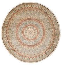 カシミール ピュア シルク 絨毯 Ø 248 オリエンタル 手織り ラウンド ベージュ/薄い灰色 (絹, インド)