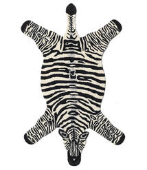 Zebra 絨毯 100X155 モダン 黒/ベージュ (ウール, インド)