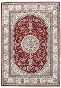 ナイン インド 絨毯 253X357 オリエンタル 手織り 薄い灰色/深紅色の 大きな ( インド)