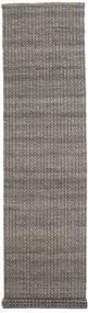 Alva - 茶/黒 絨毯 80X350 モダン 手織り 廊下 カーペット 濃いグレー/薄い灰色 (ウール, インド)