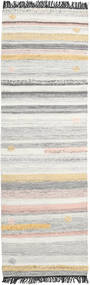 Ragna 絨毯 80X250 モダン 手織り 廊下 カーペット 薄い灰色/ベージュ (ウール, インド)