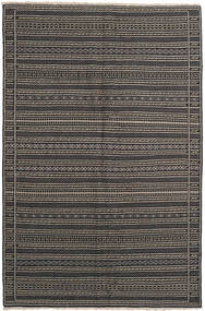キリム 絨毯 155X236 オリエンタル 手織り 濃いグレー/黒/薄い灰色 (ウール, ペルシャ/イラン)