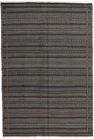 キリム ペルシャ 絨毯 160X230 オリエンタル 手織り 濃いグレー/黒 (ウール, ペルシャ/イラン)