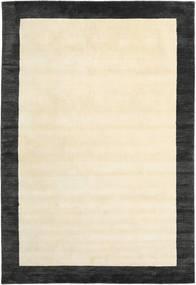 ハンドルーム Frame - 黒/白 絨毯 200X300 モダン ベージュ/濃いグレー (ウール, インド)